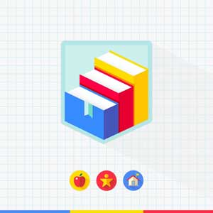 Graph paper background with icons and a logo made of books for education planning software for student success.